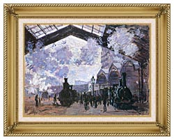 Claude Monet View Of The Normandy Train Line canvas with gallery gold wood frame