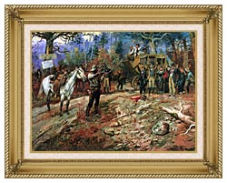 Charles Russell The Hold Up canvas with gallery gold wood frame