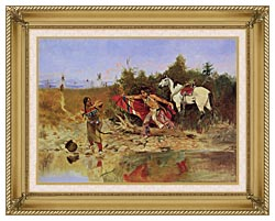 Charles Russell The Marriage Ceremony canvas with gallery gold wood frame