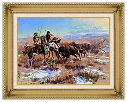 Charles Russell The Wounded Buffalo canvas with gallery gold wood frame