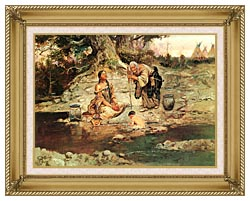 Charles Russell Three Generations canvas with gallery gold wood frame