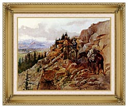 Charles Russell Trouble On The Horizon canvas with gallery gold wood frame