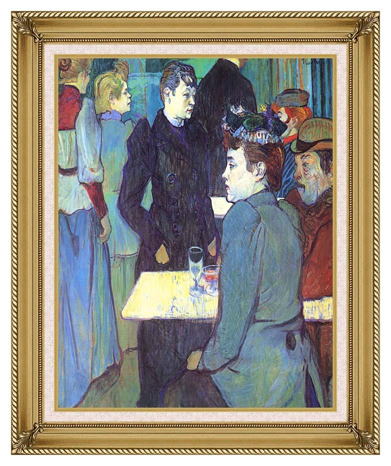 Henri de Toulouse Lautrec A Corner of the Moulin de la Galette with Gallery Gold Frame w/Liner