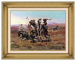 Charles Russell When Blackfeet And Sioux Meet canvas with gallery gold wood frame