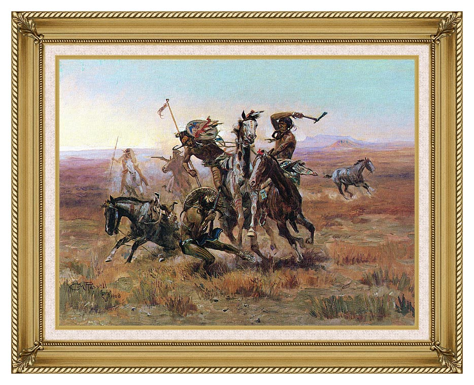 Charles Russell When Blackfeet and Sioux Meet with Gallery Gold Frame w/Liner