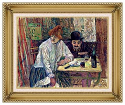 Henri De Toulouse Lautrec A La Mie canvas with gallery gold wood frame
