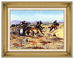 Charles Russell When Cowboys Get In Trouble canvas with gallery gold wood frame