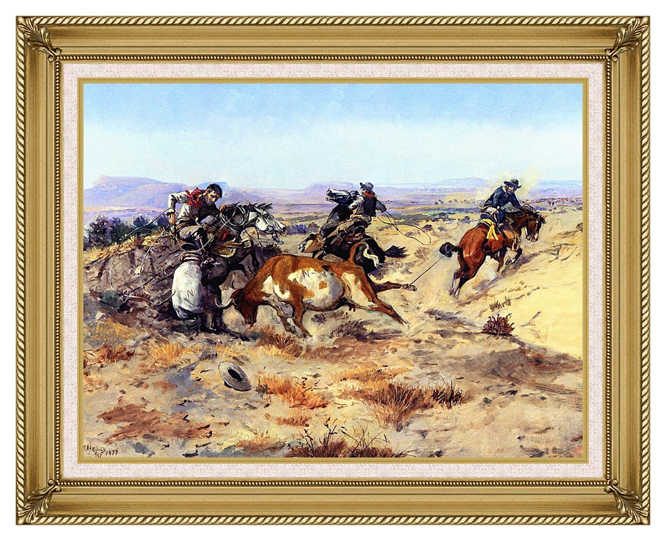 Charles Russell When Cowboys Get in Trouble with Gallery Gold Frame w/Liner
