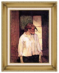 Henri De Toulouse Lautrec A Montrouge   Rosa La Rouge canvas with gallery gold wood frame