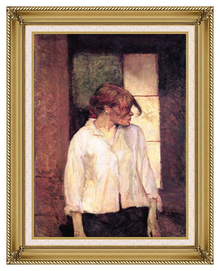 Henri de Toulouse Lautrec A Montrouge - Rosa La Rouge with Gallery Gold Frame w/Liner
