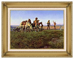 Charles Russell Wildmans Truce canvas with gallery gold wood frame
