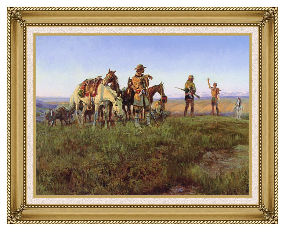 Charles Russell Wildman's Truce with Gallery Gold Frame w/Liner