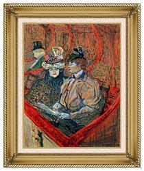 Henri De Toulouse Lautrec La Grande Loge canvas with gallery gold wood frame