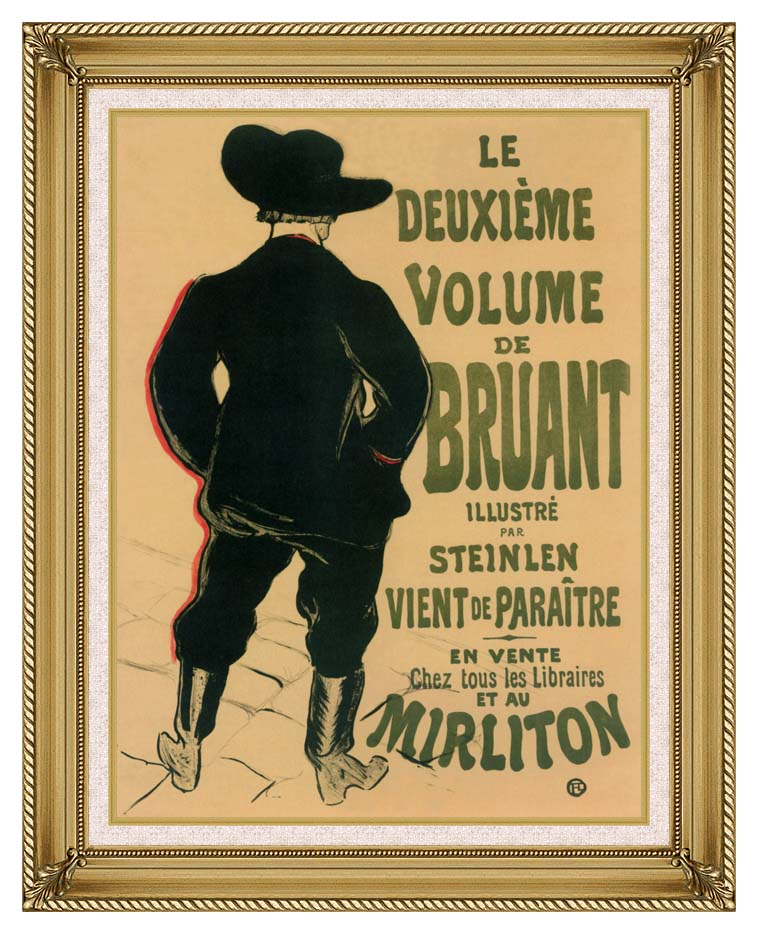 Henri de Toulouse Lautrec Aristide Bruant at the Mirliton with Gallery Gold Frame w/Liner