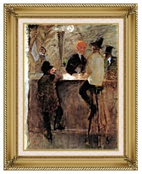 Henri De Toulouse Lautrec At The Bar canvas with gallery gold wood frame