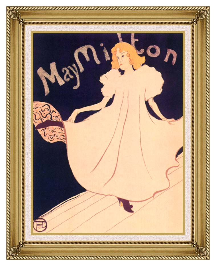 Henri de Toulouse Lautrec May Milton with Gallery Gold Frame w/Liner