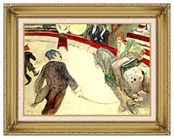 Henri De Toulouse Lautrec At The Cirque Fernando The Ringmaster canvas with gallery gold wood frame