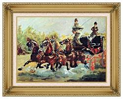 Henri De Toulouse Lautrec Count Alphonse De Toulouse Lautrec Driving His Mail Coach canvas with gallery gold wood frame