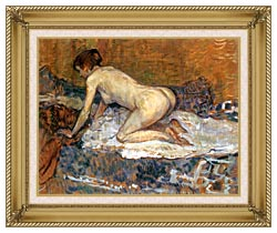 Henri De Toulouse Lautrec Crouching Woman With Red Hair canvas with gallery gold wood frame