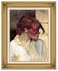 Henri De Toulouse Lautrec Rosa La Rouge Detail canvas with gallery gold wood frame