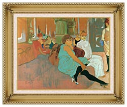 Henri De Toulouse Lautrec In The Salon Of The Rue Des Moulins canvas with gallery gold wood frame