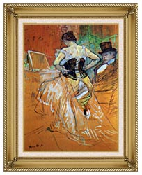 Henri De Toulouse Lautrec Study For Elles Woman In A Corset canvas with gallery gold wood frame
