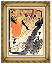 Henri De Toulouse Lautrec Jane Avril Dancing canvas with gallery gold wood frame