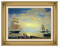 Fitz Hugh Lane Gloucester Harbor At Sunrise canvas with gallery gold wood frame