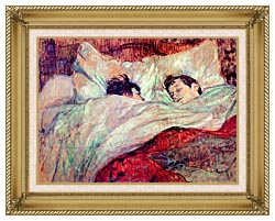 Henri De Toulouse Lautrec The Bed Le Lit canvas with gallery gold wood frame