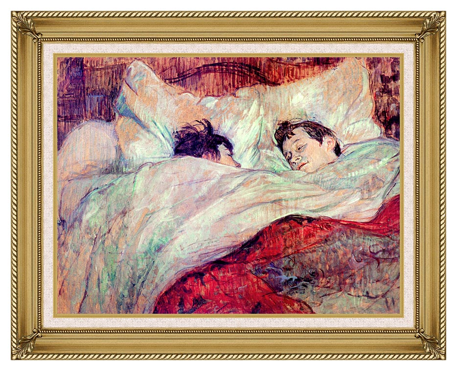 Henri de Toulouse Lautrec The Bed Le Lit with Gallery Gold Frame w/Liner