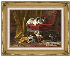 Henriette Ronner Knip Mothers Pride canvas with gallery gold wood frame