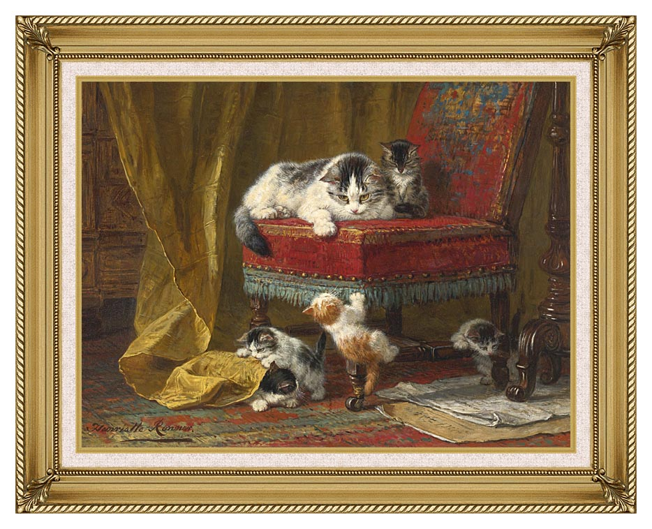 Henriette Ronner Knip Mother's Pride with Gallery Gold Frame w/Liner