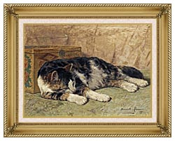 Henriette Ronner Knip Cat Nap canvas with gallery gold wood frame