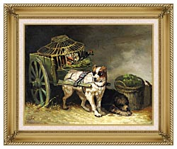 Henriette Ronner Knip Pair Of Hunting Dogs canvas with gallery gold wood frame