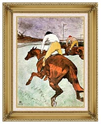 Henri De Toulouse Lautrec The Jockey canvas with gallery gold wood frame