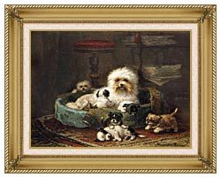 Henriette Ronner Knip Playful Puppies canvas with gallery gold wood frame