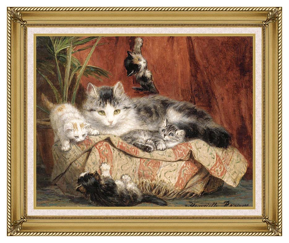 Henriette Ronner Knip Playtime with Gallery Gold Frame w/Liner