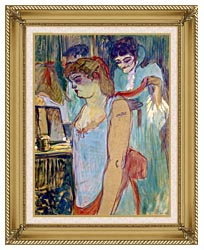 Henri De Toulouse Lautrec The Tattoed Woman Or The Toilette canvas with gallery gold wood frame