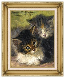 Henriette Ronner Knip Painting Of Two Kittens canvas with gallery gold wood frame