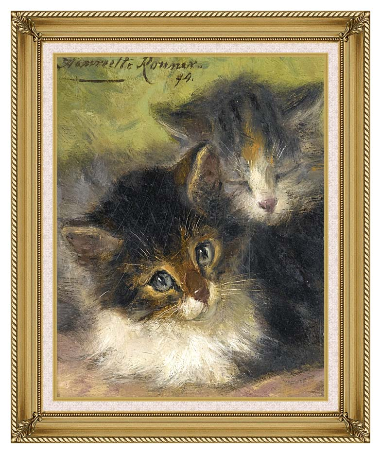 Henriette Ronner Knip Painting of Two Kittens with Gallery Gold Frame w/Liner