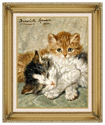 Henriette Ronner Knip Sleepy Kittens canvas with gallery gold wood frame