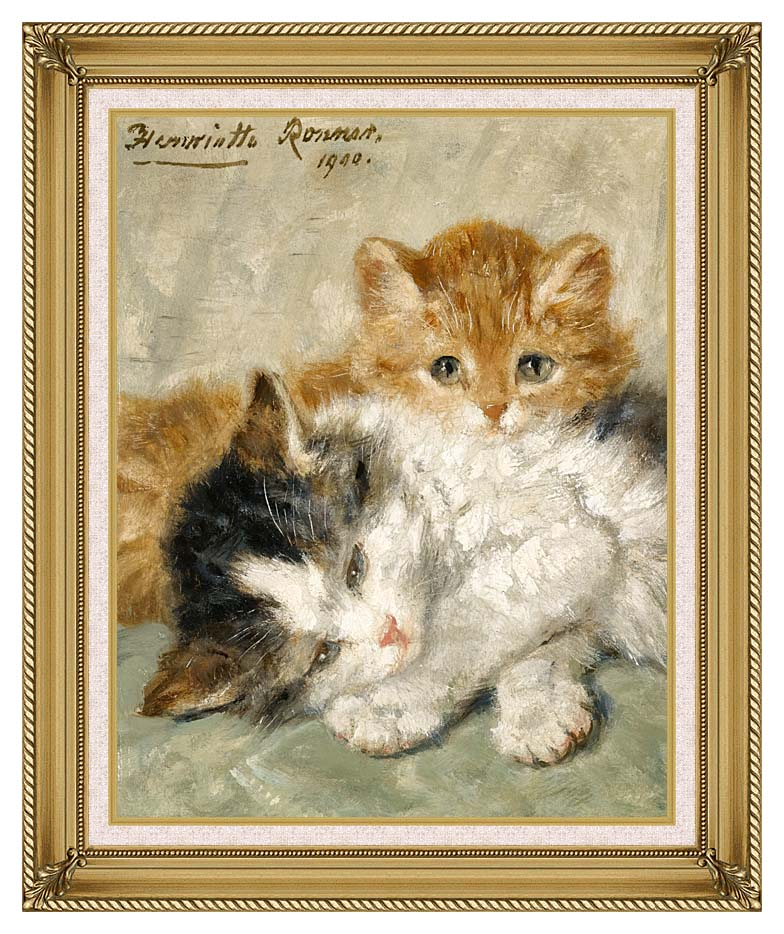Henriette Ronner Knip Sleepy Kittens with Gallery Gold Frame w/Liner
