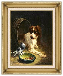 Henriette Ronner Knip Spaniel Defending His Dinner canvas with gallery gold wood frame