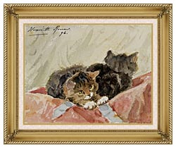 Henriette Ronner Knip The Awakening canvas with gallery gold wood frame