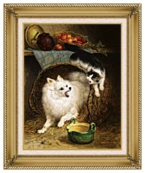 Henriette Ronner Knip The Intruder canvas with gallery gold wood frame