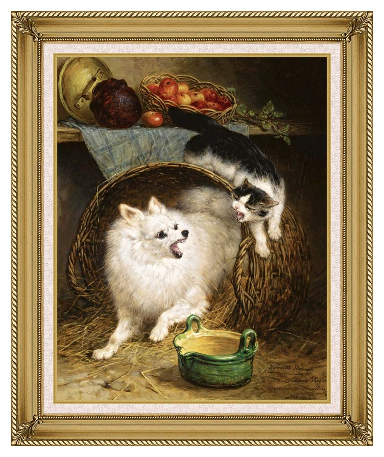 Henriette Ronner Knip The Intruder with Gallery Gold Frame w/Liner