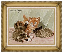 Henriette Ronner Knip The Jester canvas with gallery gold wood frame