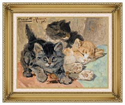 Henriette Ronner Knip Three Kittens canvas with gallery gold wood frame