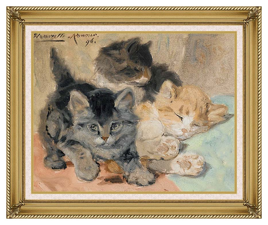 Henriette Ronner Knip Three Kittens with Gallery Gold Frame w/Liner