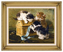 Henriette Ronner Knip Three Kittens With A Casket And Blue Ribbon canvas with gallery gold wood frame